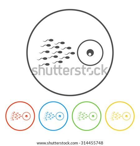Sperm and egg cells thin line icon for web and mobile minimal flat design.  - stock vector