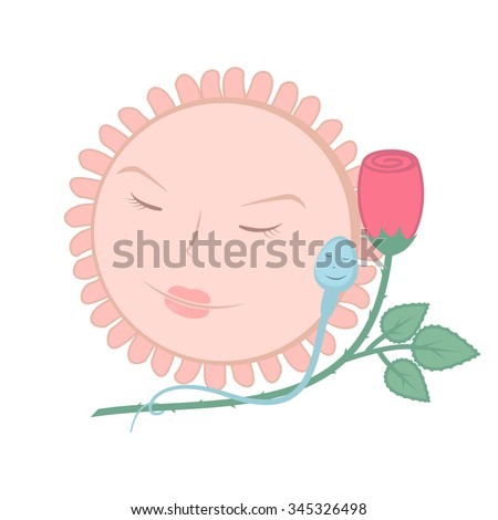 sperm and egg, the concept of fertilization - stock vector