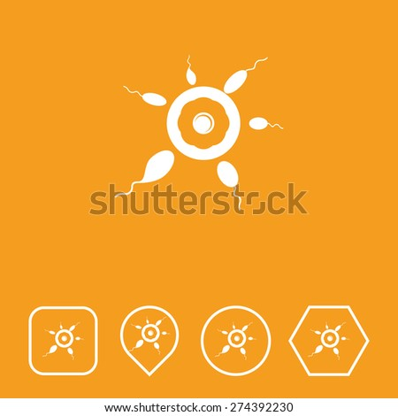 Sperm & Eggs Icon on Flat UI Colors with Different Shapes. Eps-10. - stock vector