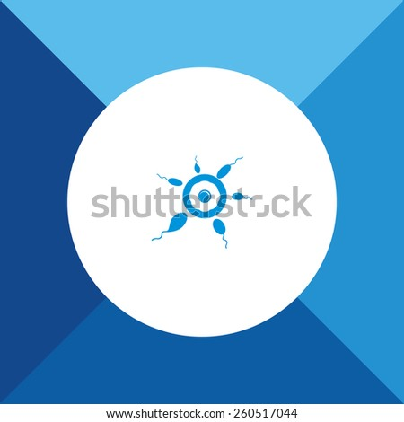 Sperms & Egg Icon On Blue Background. Eps-10. - stock vector