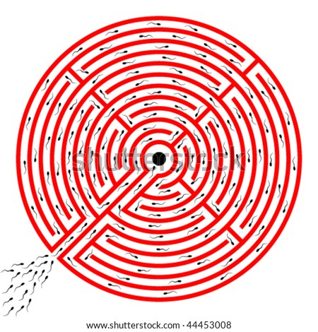 sperms going through labyrinth towards egg - stock vector