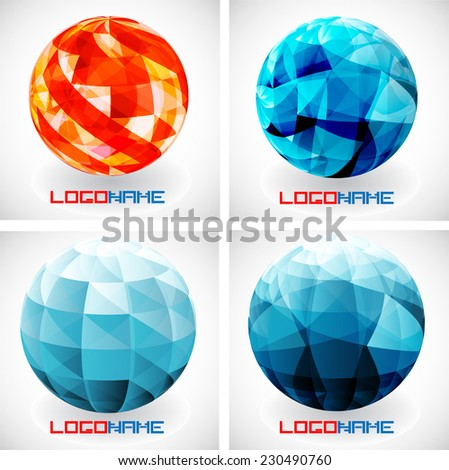 Sphere Abstract Vector Logo Design Template. Globe Collection . Business Technology Circle Icon . New Ecology Creative Idea .