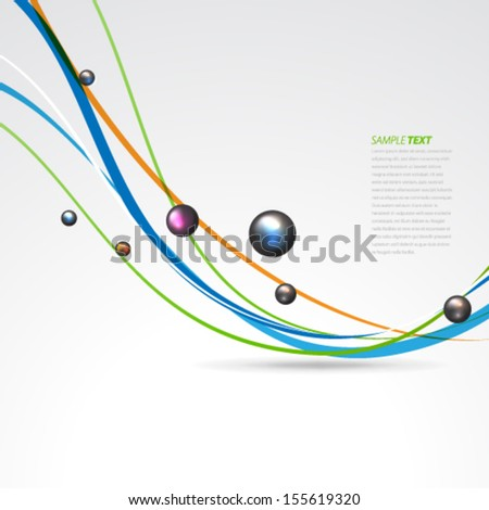 Sphere and Curve Lines Background - stock vector