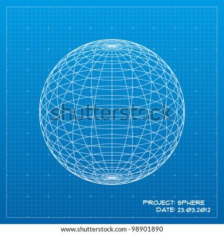 Sphere blueprint. Vector illustration - stock vector