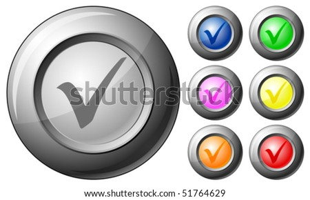 Sphere button check symbol set on a white background. Vector illustration.