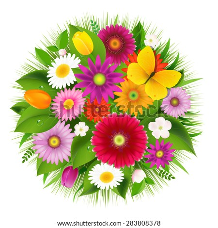 Sphere From Flowers With Butterfly With Gradient Mesh, Vector Illustration - stock vector
