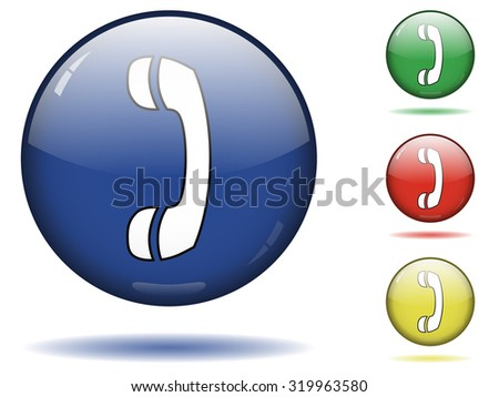 Sphere icon set of call button - stock vector