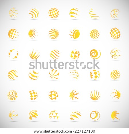 Sphere Icons Set - Isolated On Gray Background - Vector Illustration, Graphic Design Editable For Your Design - stock vector