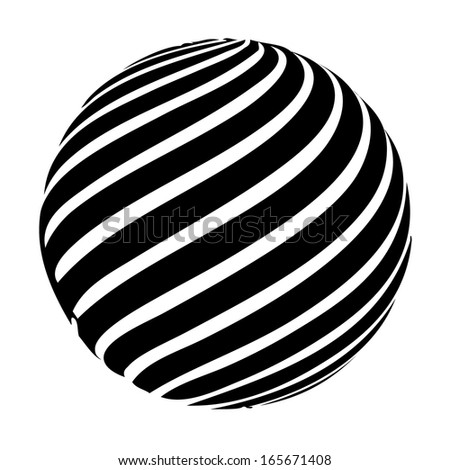 Sphere in motion vector - isolated striped ball on white background - stock vector