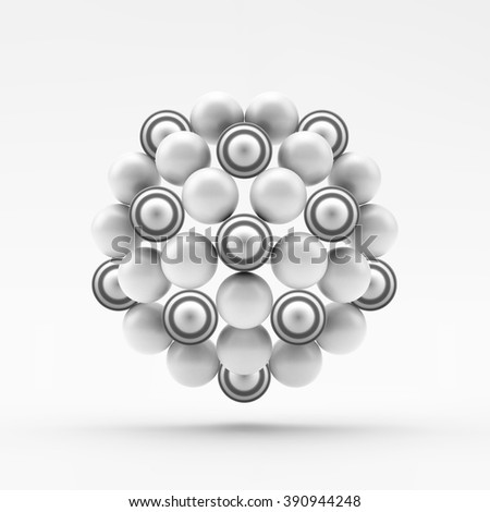Sphere. Molecular Structure. Geometrical Composition. Technology, Science and Research. 3d Vector Illustration.  - stock vector