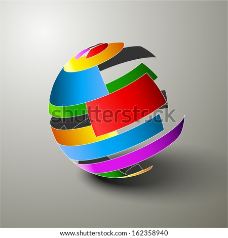 Sphere of colorful ribbons, Simple design, Vector