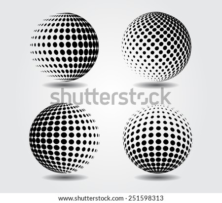 Sphere vector illustration..Halftone vector design element.Abstract round logo.
