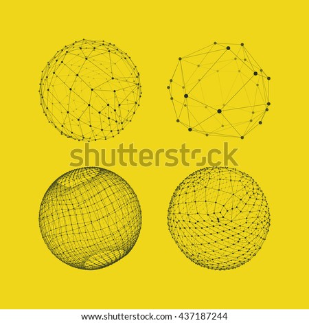 Sphere with Connected Lines and Dots. Global Digital Connections. Globe Grid. Wireframe Illustration. 3D Technology Style. Networks. - stock vector