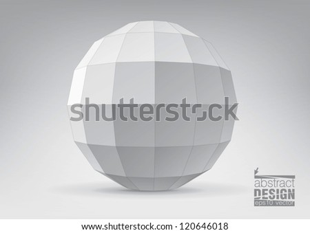 Sphere with rectangular faces, you can change colors - stock vector