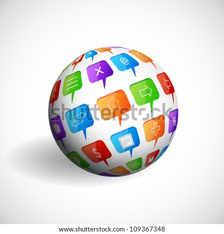 Sphere with social speech bubbles - stock vector