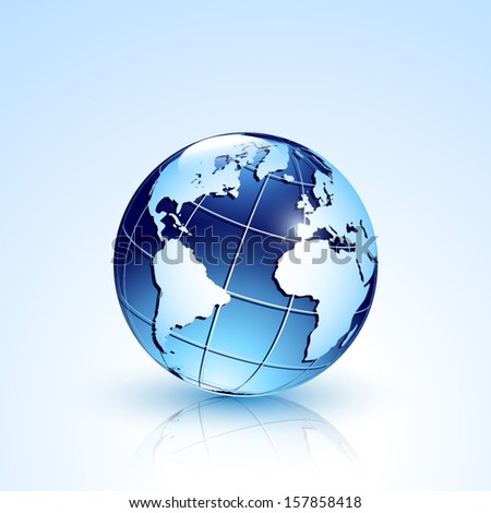 sphere with world map in blue isolated with shadow and reflection - stock vector