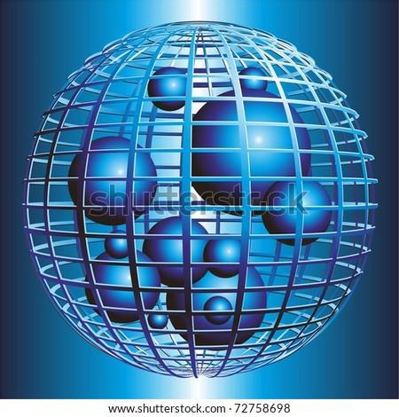 Spheres blue 3D. Vector. - stock vector