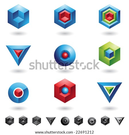 Spheres, Cubes, triangles and three dimensional shapes - stock vector
