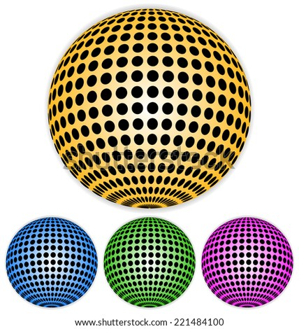 Spheres with dotted coating - stock vector