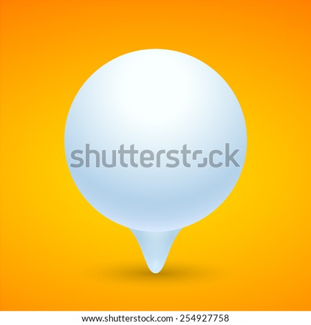 Spherical banner. Round banner on orange background.