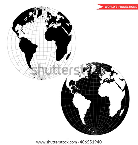 spherical world map projection. Black and white world map vector illustration. - stock vector