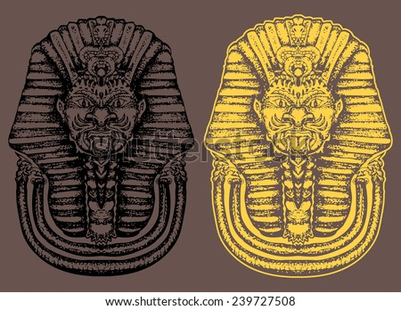 sphinx  hand draw isolated on grey  - stock vector
