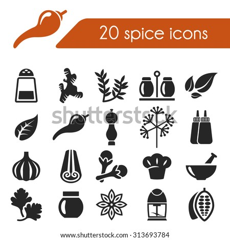 spice icons - stock vector
