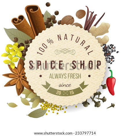 spice shop paper emblem with different spices - stock vector