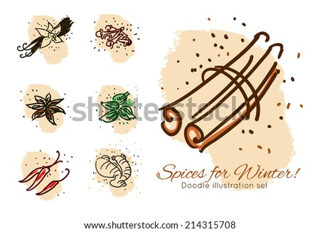 Spices for winter doodle illustration set.  - stock vector