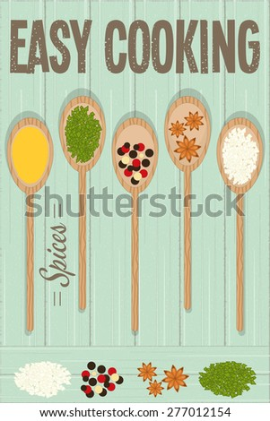 Spices in Wooden Spoons on Rustic Background. Vector Illustration. - stock vector