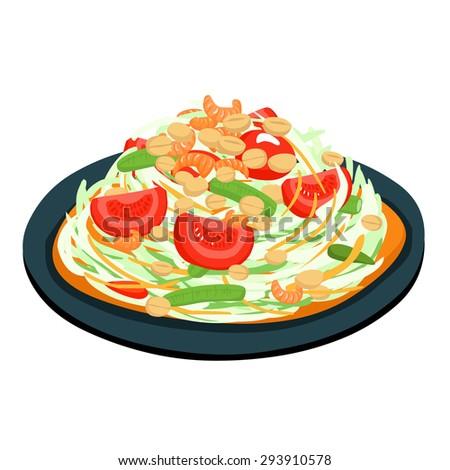 spicy popular papaya Thai salad vector illustration - stock vector