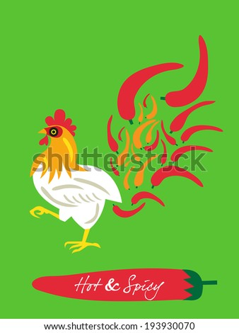 spicy restaurant theme set template � flaming chicken - stock vector