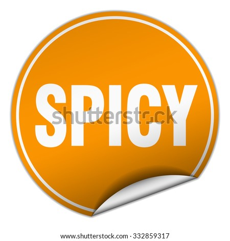 spicy round orange sticker isolated on white
