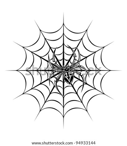 spider on web for tattoo. Vector illustration - stock vector