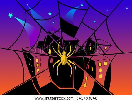 Spider webbing the city. - stock vector