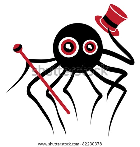spider with hat and walking stick welcomes you - stock vector