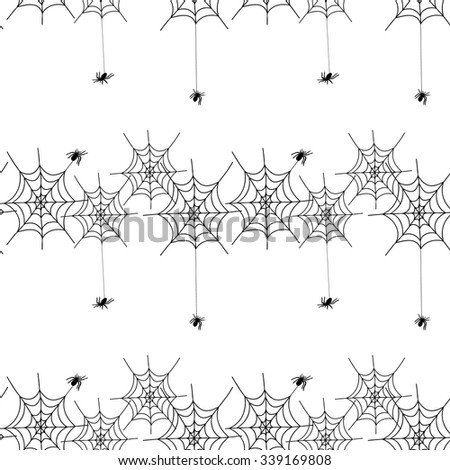 spiders and cobwebs, vector pattern