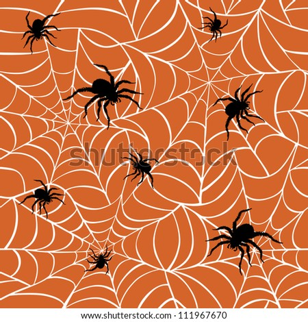Spiders on  Webs seamless pattern on orange background repeats seamlessly. - stock vector