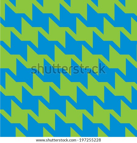 Spiky zigzag houndstooth pattern in trendy bright green and blue repeats seamlessly. - stock vector