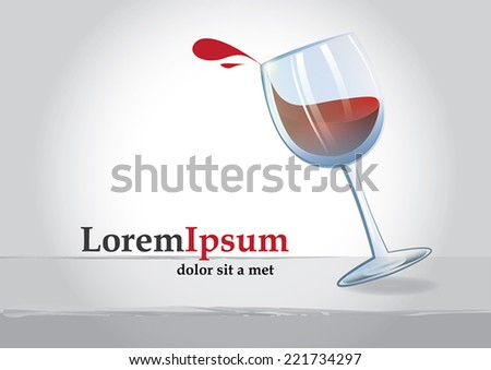 Spilling wine glass with text
