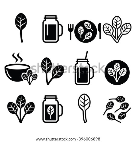Spinach, healthy food - green smoothie icons set  - stock vector