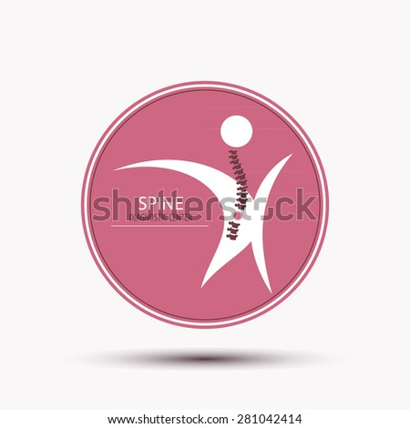 Spine diagnostic center badge or circle icon in pink color concept design logo