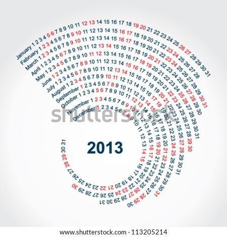 Spiral calendar - stock vector