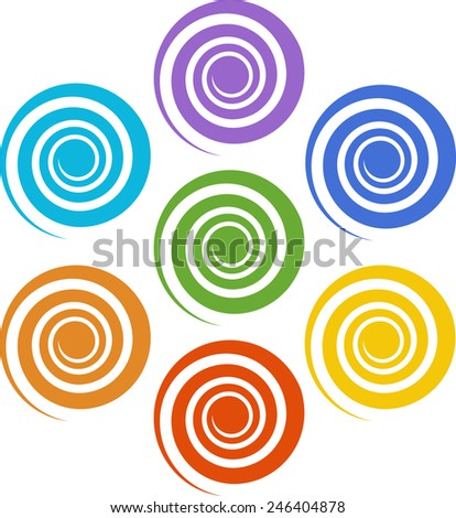 Spiral Chakras, Cosmic Energy Centers, Color  - stock vector