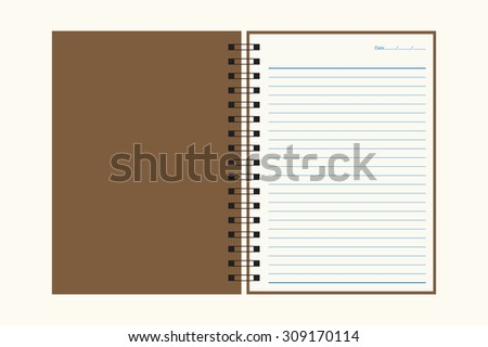 Spiral notebook with lined paper.
