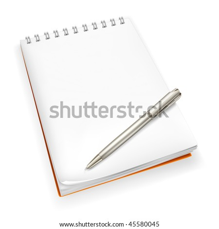 Spiral Notebook with pen, mesh - stock vector