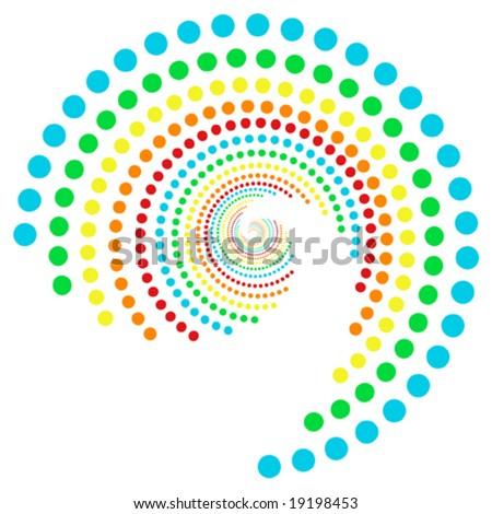 spiral rainbow dots pattern - stock vector