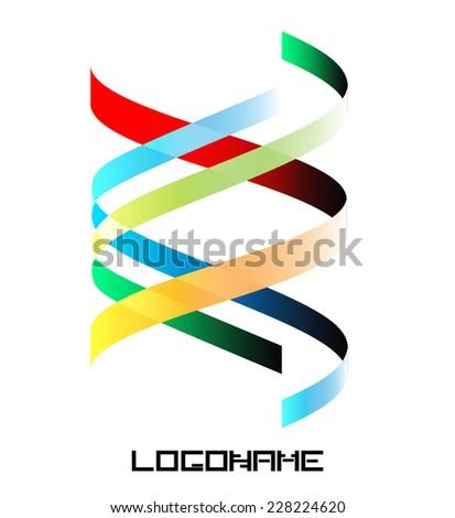 Spiral Ribbon Logo or Icon Design . Vector Collection .  - stock vector