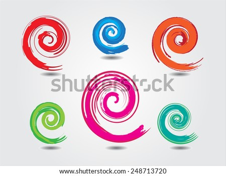 Spiral set vector .Color grunge logo design .Spiral stroke design elements .