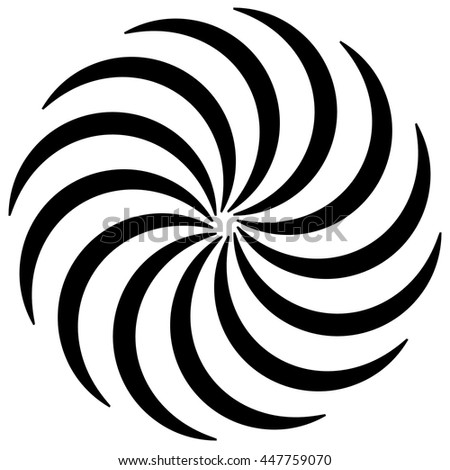 Spiral shape on white. Curved lines rotating from a centric point forming a circle. Abstract geometric element. Vortex, swirl illustration. - stock vector